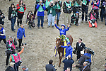 November 2, 2018: Line Of Duty #5, ridden by William Buick, wins the Juvenile Turf on Breeders' Cup World Championship Friday at Churchill Downs on November 2, 2018 in Louisville, Kentucky. Carolyn Simancik/Eclipse Sportswire/CSM