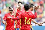 Spain's Pedro Rodriguez, Marc Bartra and Thiago Alcantara celebrate goal during friendly match. June 1,2016.(ALTERPHOTOS/Acero)