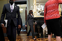 United States  Vice President Kamala Harris arrives for a meeting with President Nana Akufo-Addo of Ghana face reporters before their meeting in the Vice President's Ceremonial Office in the Eisenhower Executive Office Building in Washington, DC on September 23, 2021. <br /> Credit: Yuri Gripas / Pool via CNP /MediaPunch