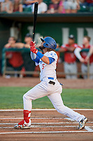 Ronny Brito (5) of the Ogden Raptors bats against the Billings Mustangs at Lindquist Field on August 18, 2018 in Ogden, Utah. Billings defeated Ogden 6-4. (Stephen Smith/Four Seam Images)