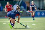 Mannheim, Germany, September 12: During the 1. Bundesliga women fieldhockey match between Mannheimer HC (blue) and Ruesselsheimer RK (red) on September 12, 2020 at Am Neckarkanal in Mannheim, Germany. Final score 2-0 (HT 1-0). (Copyright Dirk Markgraf / www.265-images.com) *** Sonja Zimmermann #11 of Mannheimer HC