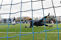 Goalkeeper Faye Lammertijn (22) of OHL pictured during the warming up of a female soccer game between Club Brugge Dames YLA and Oud Heverlee Leuven on the first matchday in Play-Off 1 of the 2020 - 2021 season of Belgian Scooore Womens Super League , saturday 3 th April 2021  in Brugge , Belgium . PHOTO SPORTPIX.BE | SPP | DIRK VUYLSTEKE