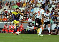 Valencia, Spain. Thursday 19 September 2013<br /> Pictured: (L-R) Alejandro Pozuelo, Miguel Ricardo Costa.<br /> Re: UEFA Europa League game against Valencia C.F v Swansea City FC, at the Estadio Mestalla, Spain,