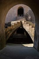 Yogyakarta, Java, Indonesia.  Stairway in the Underground Mosque, part of the Taman Sari (Water Palace) Complex.
