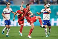 ST PETERSBURG, RUSSIA - JUNE 12 :  Jan Vertonghen defender of Belgium battles for the ball with Mario Figueira Fernandes defender of Russia, Roman Zobnin midfielder of Russia pictured during the 16th UEFA Euro 2020 Championship Group B match between Belgium and Russia on June 12, 2021 in St Petersburg, Russia, 12/06/2021 <br /> Photo Photonews / Panoramic / Insidefoto <br /> ITALY ONLY