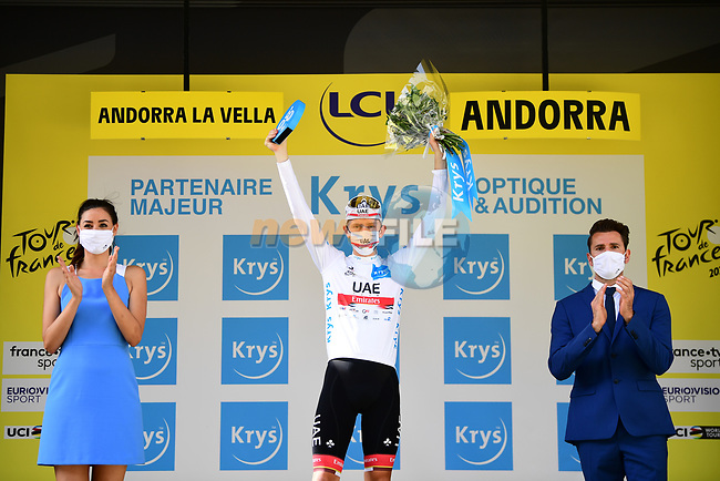 Race leader Tadej Pogacar (SLO) UAE Team Emirates also retains the young riders White Jersey at the end of Stage 15 of the 2021 Tour de France, running 191.3km from Ceret to Andorre-La-Vieille, France. 11th July 2021.  <br /> Picture: A.S.O./Pauline Ballet   Cyclefile<br /> <br /> All photos usage must carry mandatory copyright credit (© Cyclefile   A.S.O./Pauline Ballet)