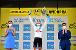 Race leader Tadej Pogacar (SLO) UAE Team Emirates also retains the young riders White Jersey at the end of Stage 15 of the 2021 Tour de France, running 191.3km from Ceret to Andorre-La-Vieille, France. 11th July 2021.  <br /> Picture: A.S.O./Pauline Ballet | Cyclefile<br /> <br /> All photos usage must carry mandatory copyright credit (© Cyclefile | A.S.O./Pauline Ballet)