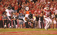 NWA Democrat-Gazette/MICHAEL WOODS • @NWAMICHAELW<br /> Texas Tech running back Justin Stockton dives into the end zone for a touchdown in the 3rd quarter of Saturday nights game against the Razorbacks at Razorback Stadium in Fayetteville.