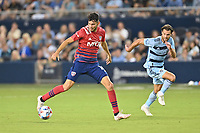 KANSAS CITY, KS - JULY 31: Ricardo Pepi #16 FC Dallas with the ball during a game between FC Dallas and Sporting Kansas City at Children's Mercy Park on July 31, 2021 in Kansas City, Kansas.