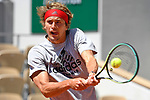 Alexander Zverev during a  training session before  Roland Garros 2021. Saturday may 29, 2021. Paris. France.