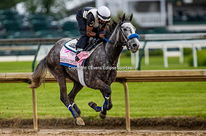 April 29, 2021: Crazy Beautiful gallops in preparation for the Kentucky Oaks at Churchill Downs in Louisville, Kentucky on April 29, 2021. EversEclipse Sportswire/CSM
