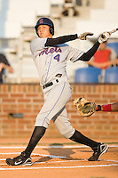 Wilmer Flores (4) of the Kingsport Mets follows through on his swing at Howard Johnson Field in Johnson City, TN, Thursday July 3, 2008.