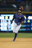 Willi Castro (5) of the Toledo Mud Hens rounds the bases after hitting a home run against the Charlotte Knights at BB&T BallPark on April 24, 2019 in Charlotte, North Carolina. The Knights defeated the Mud Hens 9-6. (Brian Westerholt/Four Seam Images)