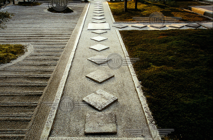 Detail of a sand garden at the Ginkakuji Buddhist Temple.