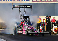 Nov 7, 2013; Pomona, CA, USA; NHRA top fuel dragster driver Brittany Force during qualifying for the Auto Club Finals at Auto Club Raceway at Pomona. Mandatory Credit: Mark J. Rebilas-