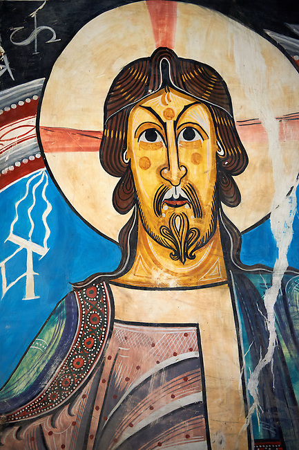 Copy of the twelth century Catalan Romanesque Fresco of Christ Pantocrator in the Church of Saint Climent in Taull, Vall de Boi, Spain. A UNESCO World Hertigae site and one of the best exapmles of Romanesque in Europe.