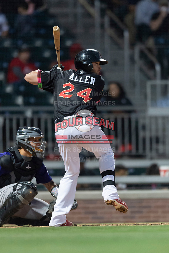 El Paso Chihuahuas catcher Austin Allen (24) during a Pacific Coast League game against the Albuquerque Isotopes at Southwest University Park on May 10, 2019 in El Paso, Texas. Albuquerque defeated El Paso 2-1. (Zachary Lucy/Four Seam Images)