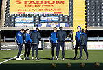 Kilmarnock v St Johnstone…30.01.21   Rugby Park   SPFL<br />The St Johnstone players on the pitch prior to kick off, pictured from left, Liam Craig. Chris Kane, James Brown, Ali McCann, Callum Booth, Jamie McCart and Craig Bryson.<br />Picture by Graeme Hart.<br />Copyright Perthshire Picture Agency<br />Tel: 01738 623350  Mobile: 07990 594431