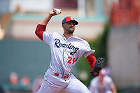 Reading Fightin Phils relief pitcher Jesen Therrien (29) delivers a pitch during a game against the Erie SeaWolves on May 18, 2017 at UPMC Park in Erie, Pennsylvania.  Reading defeated Erie 8-3.  (Mike Janes/Four Seam Images)