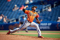 Baltimore Orioles relief pitcher Pedro Araujo (38) delivers a pitch during a Grapefruit League Spring Training game against the Philadelphia Phillies on February 28, 2019 at Spectrum Field in Clearwater, Florida.  Orioles tied the Phillies 5-5.  (Mike Janes/Four Seam Images)