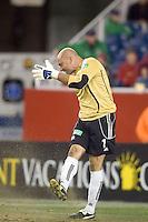 Matt Reis shows some emotion after allowing a PK goal. NE Revolution defeat Colorado Rapids, 3-1, at Gillette Stadium on Sept. 30, 2006.
