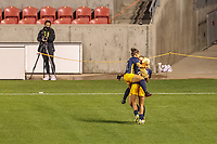 SANDY, UT - OCTOBER 03: Utah Royals FC celebrates goal during a game between Portland Thorns FC and Utah Royals FC at Rio Tinto Stadium on October 03, 2020 in Sandy, Utah.