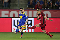 Carson, CA - Sunday January 28, 2018: Ognjen Todorović, Paul Arriola during an international friendly between the men's national teams of the United States (USA) and Bosnia and Herzegovina (BIH) at the StubHub Center.