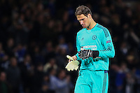 Asmir Begovic of Chelsea after the UEFA Champions League match between Chelsea and Maccabi Tel Aviv at Stamford Bridge, London, England on 16 September 2015. Photo by David Horn.