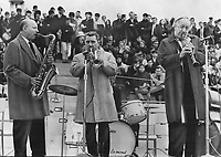 1967 FILE PHOTO - ARCHIVES -<br /> <br /> Expo jazz stars; from left; Bud Freeman; Ruby Braff; Pee Wee Russell.<br /> <br /> PHOTO : Reg INNELL - Toronto Star Archives - AQP