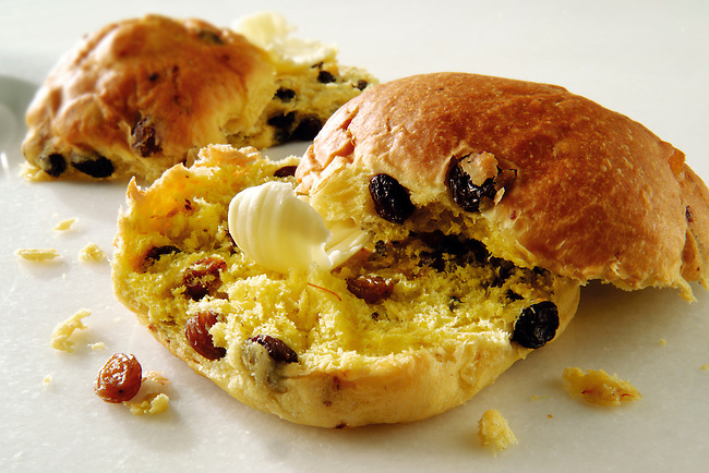 Traditional Cornish saffron bun with butter
