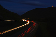 Franconia Notch State Park - Franconia Notch Parkway during the night in the White Mountains, New Hampshire.