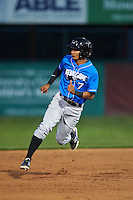 Hudson Valley Renegades outfielder Jose Paez (7) running the bases during a game against the Vermont Lake Monsters on September 3, 2015 at Centennial Field in Burlington, Vermont.  Vermont defeated Hudson Valley 4-1.  (Mike Janes/Four Seam Images)