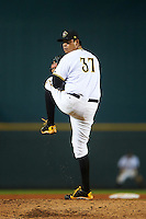 Bradenton Marauders relief pitcher Luis Heredia (37) during a game against the Palm Beach Cardinals on August 9, 2016 at McKechnie Field in Bradenton, Florida.  Palm Beach defeated Bradenton 8-7.  (Mike Janes/Four Seam Images)
