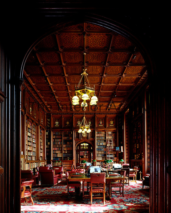 One of the four rooms, which make up the Lords' Library, its grand interior lined with bookcases and featuring a marquetry ceiling