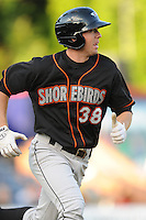 Delmarva Shorebirds Adam Gaylord #38 runs to first base during  a game against  the  Asheville Tourists at McCormick Field in Asheville,  North Carolina;  May 6, 2011. The Shorebirds won the game 6-5.  Photo By Tony Farlow/Four Seam Images