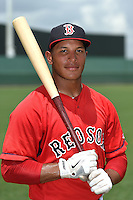 GCL Red Sox outfielder Jordon Austin (40) poses for a photo after a game against the GCL Rays on June 25, 2014 at JetBlue Park at Fenway South in Fort Myers, Florida.  GCL Red Sox defeated the GCL Rays 7-0.  (Mike Janes/Four Seam Images)