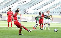 23rd May 2020, BORUSSIA-PARK, North Rhine-Westphalia, Germany; Bundesliga football, Borussia Moenchengladbach versus Bayer Leverkusen; The penalty kick goal for 1:2 scored by Kai Havertz (Leverkusen)