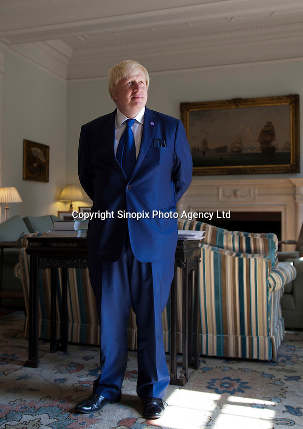 OCTOBER 15, 2015 -TOKYO, JAPAN:  London Mayor, Boris Johnsonat the British Embassy in Tokyo. The was in Japan to encourage collaboration between London and Japan in financial technology.  (Photo / Ko Sasaki  )