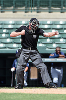 Umpire Matt Winter makes a call during an Instructional League game between the Tampa Bay Rays and Baltimore Orioles on September 15, 2014 at Ed Smith Stadium in Sarasota, Florida.  (Mike Janes/Four Seam Images)