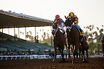 September 27 2014: Angela Renee with Rafael Bejarano up wins the Chandelier Stakes at Santa Anita Park in Arcadia CA. Alex Evers/ESW/CSM