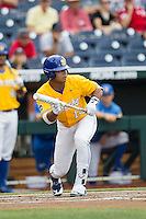 UC Santa Barbara Gauchos outfielder Devon Bradford (15) squares to bunt against the Miami Hurricanes in Game 5 of the NCAA College World Series on June 20, 2016 at TD Ameritrade Park in Omaha, Nebraska. UC Santa Barbara defeated Miami  5-3. (Andrew Woolley/Four Seam Images)