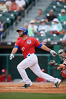 Buffalo Bisons catcher Alex Monsalve (10) bats during a game against the Indianapolis Indians on August 17, 2017 at Coca-Cola Field in Buffalo, New York.  Buffalo defeated Indianapolis 4-1.  (Mike Janes/Four Seam Images)