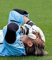 Paraguay goalkeeper Zulma Orue after her teams loss..FIFA U17 Women's World Cup, Paraguay v USA, Waikato Stadium, Hamilton, New Zealand, Sunday 2 November 2008. Photo: Renee McKay/PHOTOSPORT