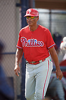 Philadelphia Phillies coach Rob Ducey (22) during a Florida Instructional League game against the New York Yankees on October 11, 2018 at Yankee Complex in Tampa, Florida.  (Mike Janes/Four Seam Images)
