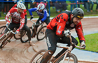 31 AUG 2015 - IPSWICH, GBR - Mark Boaler (right) of Horspath races away from his rivals during a heat at the men's British Cycle Speedway Championships at Whitton Sports and Community Centre in Ipswich, Suffolk, Great Britain (PHOTO COPYRIGHT © 2015 NIGEL FARROW, ALL RIGHTS RESERVED)