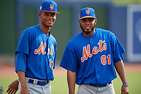 GCL Mets pitchers Jose Moreno (87) and Jaison Vilera (61) pose for a photo before the first game of a doubleheader against the GCL Nationals on July 22, 2017 at The Ballpark of the Palm Beaches in Palm Beach, Florida.  GCL Mets defeated the GCL Nationals 1-0 in a seven inning game that originally started on July 17th.  (Mike Janes/Four Seam Images)