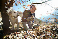 Jean Claude Authier finds a black truffle in the hills near his home in Puget-Theniers, Alpes-Maritimes, France, 09 February 2011. 45% of all the black truffles produced worldwide are found in France.