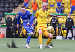 16.08.2020 Livingston v Rangers: Ryan Kent shoots past Craig Sibbald in injury time but pulls his effort wide of goal