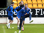 St Johnstone Training...21.05.21<br />David Wotherspoon and Stevie May pictured during training at McDiarmid Park this morning ahead of tomorrow's Scottish Cup Final against Hibs.<br />Picture by Graeme Hart.<br />Copyright Perthshire Picture Agency<br />Tel: 01738 623350  Mobile: 07990 594431