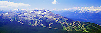 Whistler Mountain Ski Runs, Whistler Ski Resort, BC, British Columbia, Canada, Summer - Black Tusk Peak visible in Left Distance, Panoramic View